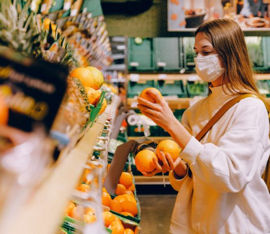 Woman in a supermarket during Covid-19